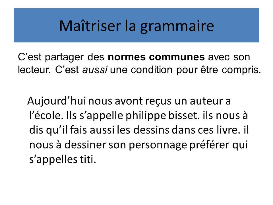 Maîtriser la grammaire Aujourdhui nous avont reçus un auteur a lécole.