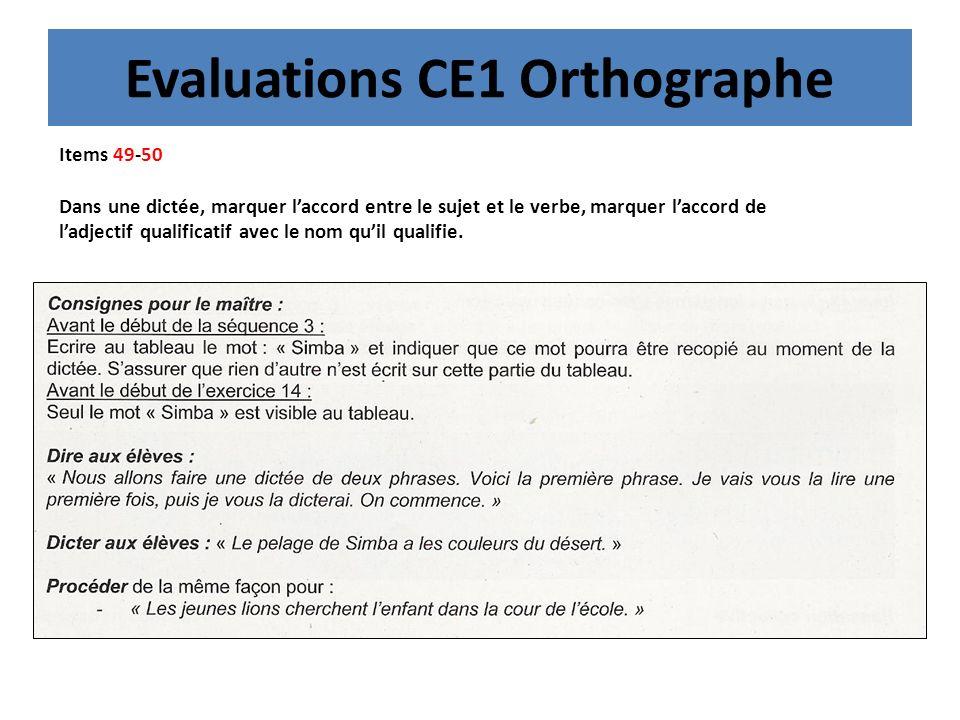 Evaluations CE1 Orthographe Items 49-50 Dans une dictée, marquer laccord entre le sujet et le verbe, marquer laccord de ladjectif qualificatif avec le nom quil qualifie.