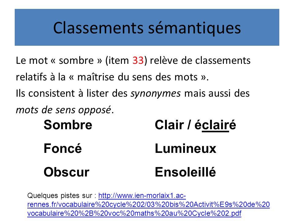 Classements sémantiques Le mot « sombre » (item 33) relève de classements relatifs à la « maîtrise du sens des mots ».