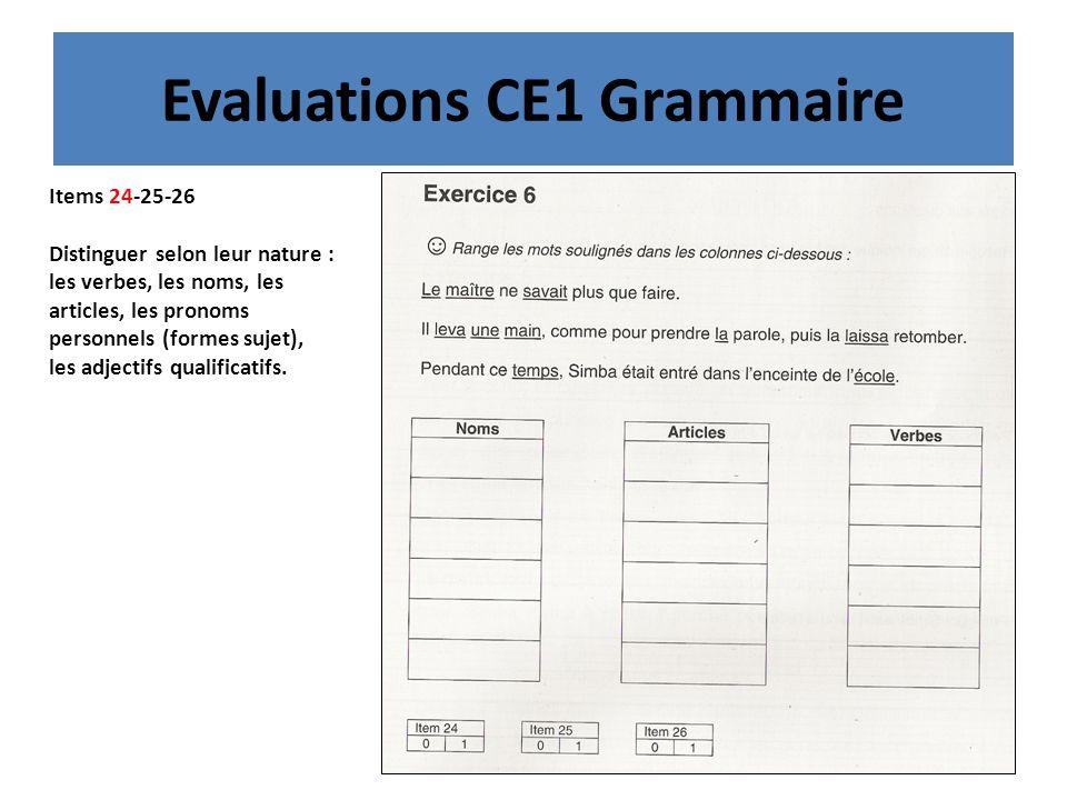 Evaluations CE1 Grammaire Items 24-25-26 Distinguer selon leur nature : les verbes, les noms, les articles, les pronoms personnels (formes sujet), les adjectifs qualificatifs.
