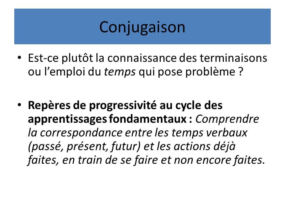 Conjugaison Est-ce plutôt la connaissance des terminaisons ou lemploi du temps qui pose problème .