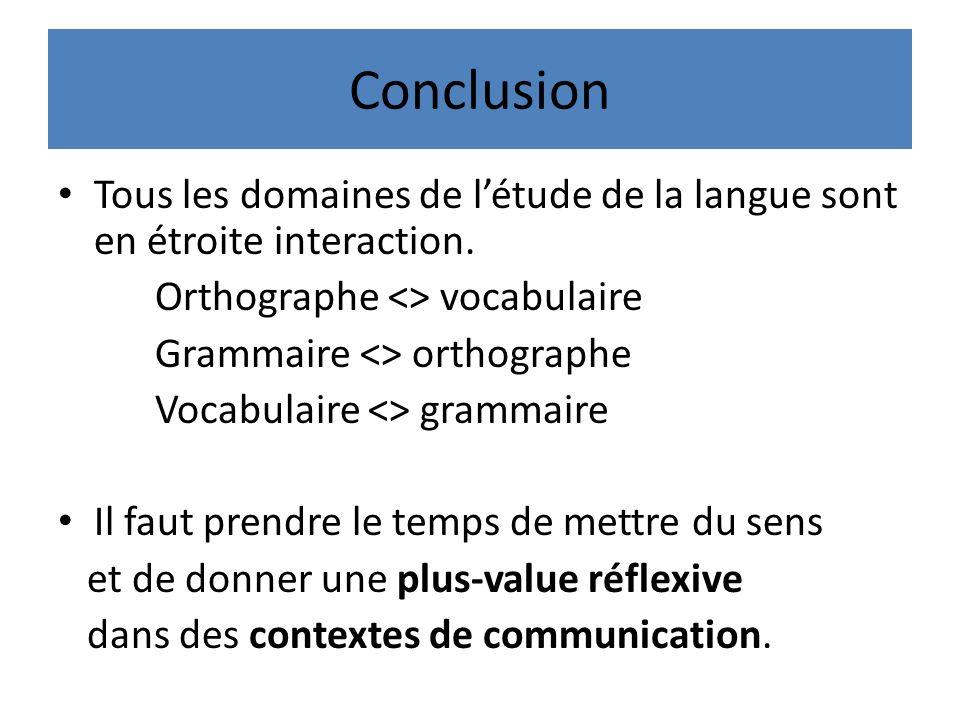 Conclusion Tous les domaines de létude de la langue sont en étroite interaction.