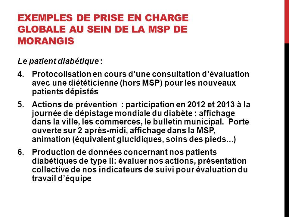 EXEMPLES DE PRISE EN CHARGE GLOBALE AU SEIN DE LA MSP DE MORANGIS Le patient diabétique : 4.Protocolisation en cours dune consultation dévaluation ave