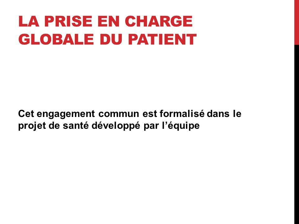 LA PRISE EN CHARGE GLOBALE DU PATIENT Cet engagement commun est formalisé dans le projet de santé développé par léquipe