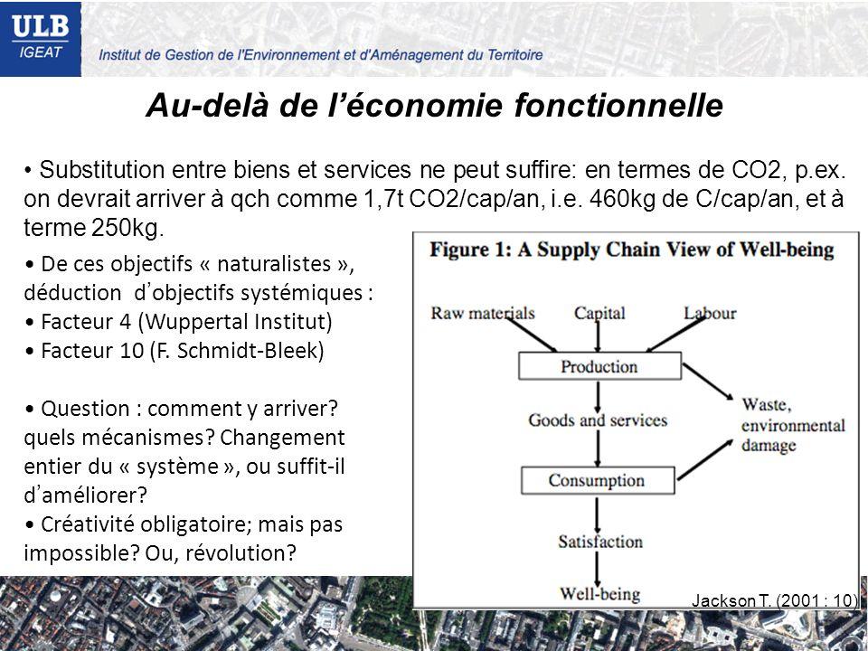 Au-delà de léconomie fonctionnelle Substitution entre biens et services ne peut suffire: en termes de CO2, p.ex. on devrait arriver à qch comme 1,7t C