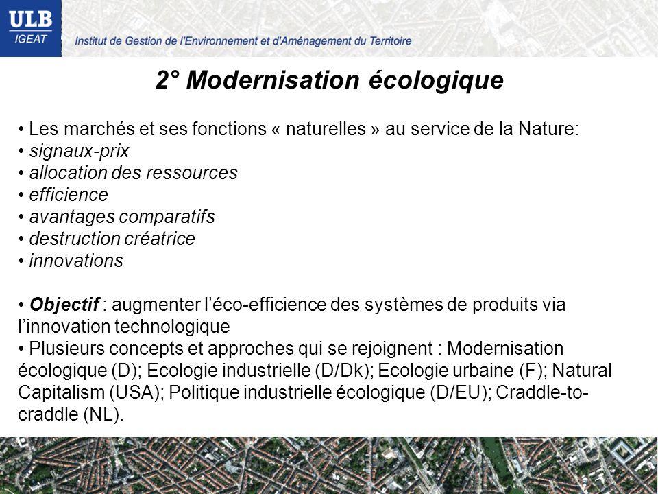 2° Modernisation écologique Les marchés et ses fonctions « naturelles » au service de la Nature: signaux-prix allocation des ressources efficience ava