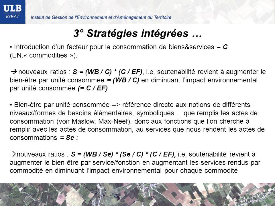 3° Stratégies intégrées … Introduction dun facteur pour la consommation de biens&services = C (EN:« commodities »): nouveaux ratios : S = (WB / C) * (