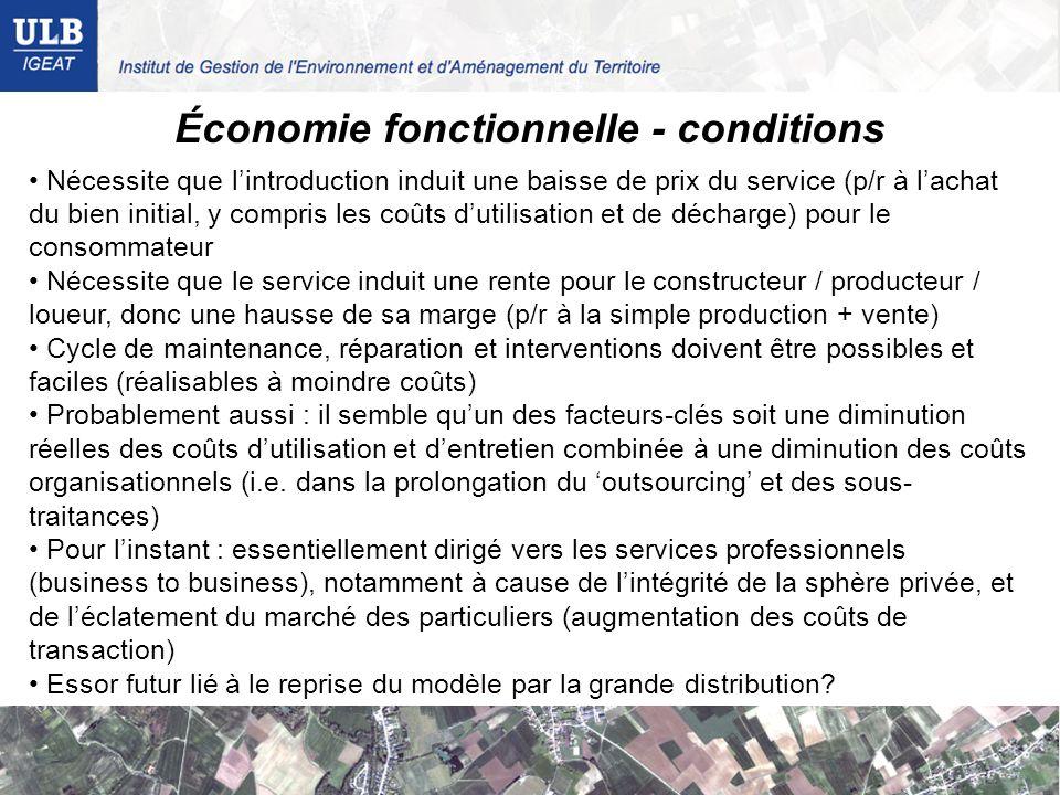 Économie fonctionnelle - conditions Nécessite que lintroduction induit une baisse de prix du service (p/r à lachat du bien initial, y compris les coût