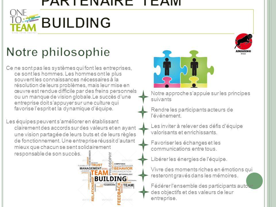Notre approche sappuie sur les principes suivants Rendre les participants acteurs de l'événement. Les inviter à relever des défis d'équipe valorisants