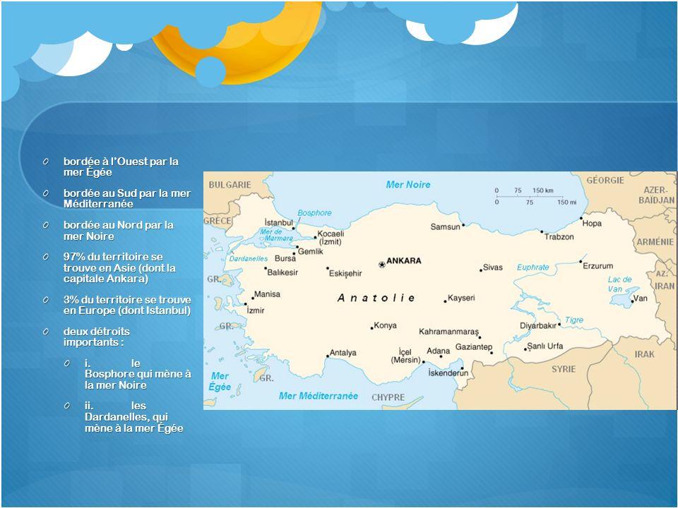 bordée à lOuest par la mer Égée bordée au Sud par la mer Méditerranée bordée au Nord par la mer Noire 97% du territoire se trouve en Asie (dont la cap