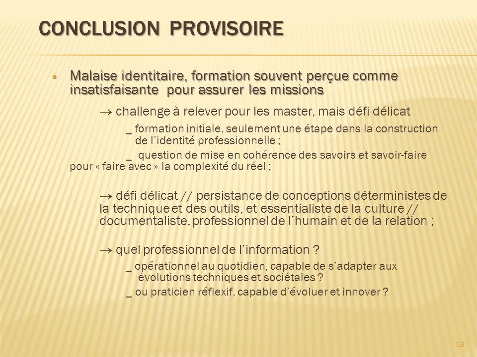 CONCLUSION PROVISOIRE CONCLUSION PROVISOIRE Malaise identitaire, formation souvent perçue comme insatisfaisante pour assurer les missions Malaise iden