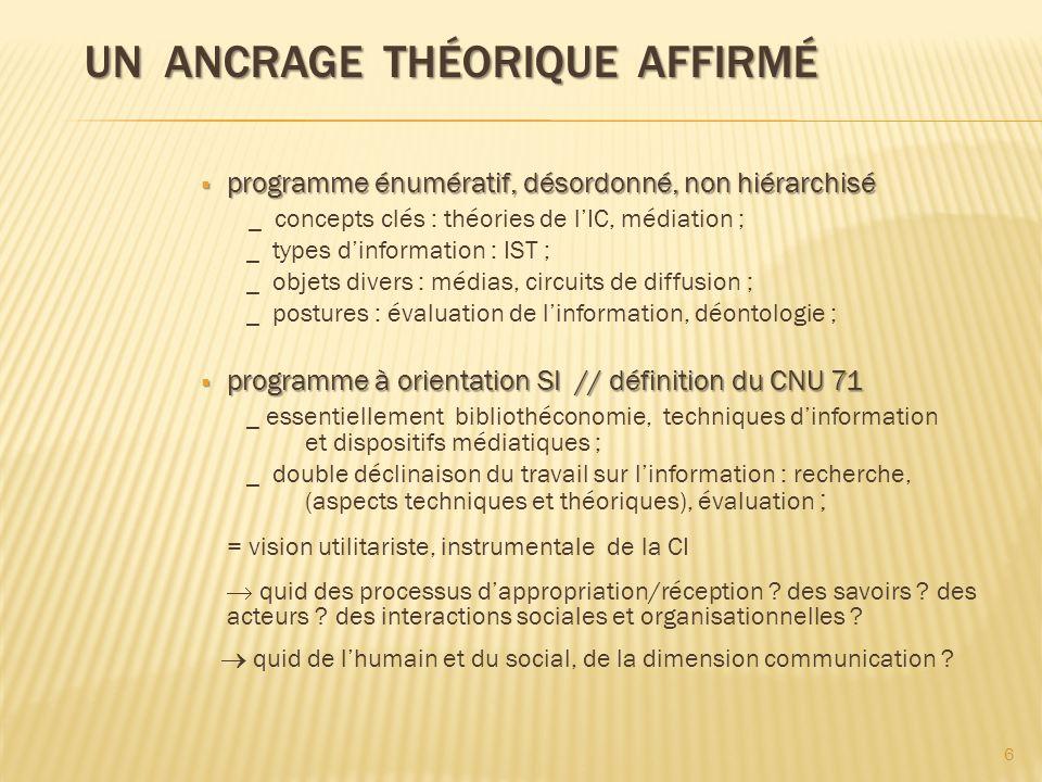 UN ANCRAGE THÉORIQUE AFFIRMÉ UN ANCRAGE THÉORIQUE AFFIRMÉ programme énumératif, désordonné, non hiérarchisé programme énumératif, désordonné, non hiér