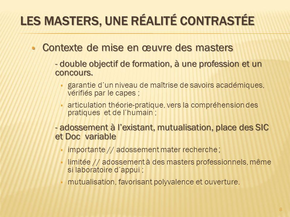 LES MASTERS, UNE RÉALITÉ CONTRASTÉE Contexte de mise en œuvre des masters Contexte de mise en œuvre des masters - double objectif de formation, à une