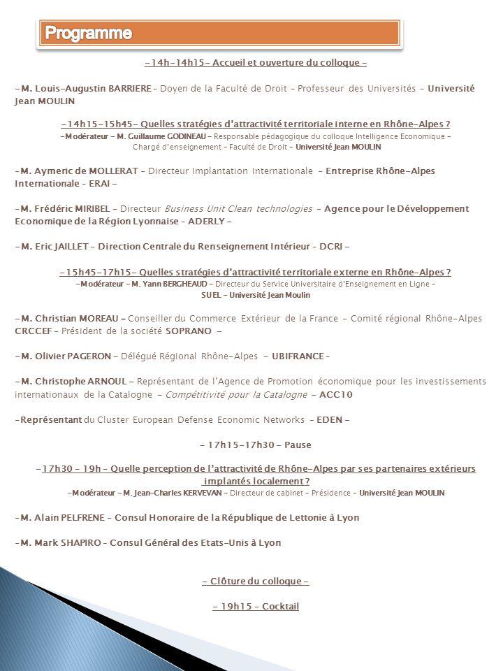 -14h-14h15- Accueil et ouverture du colloque – -M. Louis-Augustin BARRIERE – Doyen de la Faculté de Droit – Professeur des Universités – Université Je