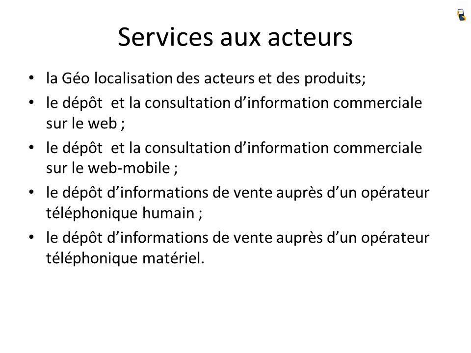 Services aux acteurs la Géo localisation des acteurs et des produits; le dépôt et la consultation dinformation commerciale sur le web ; le dépôt et la