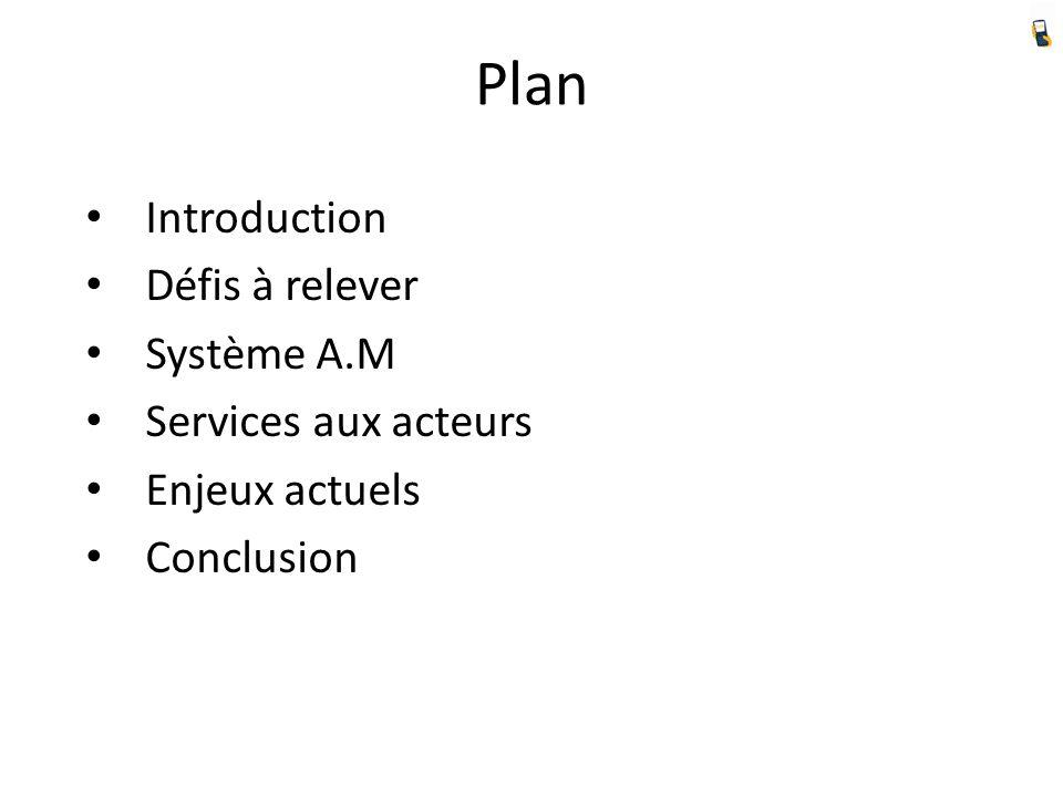 Plan Introduction Défis à relever Système A.M Services aux acteurs Enjeux actuels Conclusion