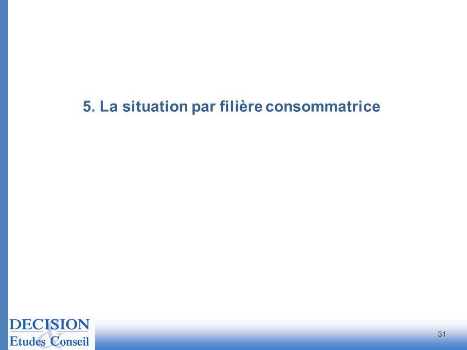 5. La situation par filière consommatrice 31