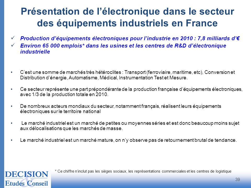 Présentation de lélectronique dans le secteur des équipements industriels en France 39 Production déquipements électroniques pour lindustrie en 2010 :