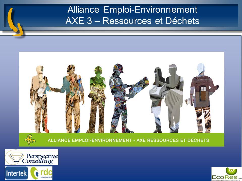 Alliance Emploi-Environnement AXE 3 – Ressources et Déchets 1