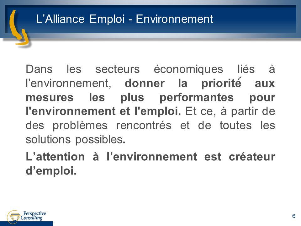 LAlliance Emploi - Environnement Dans les secteurs économiques liés à lenvironnement, donner la priorité́ aux mesures les plus performantes pour l'env