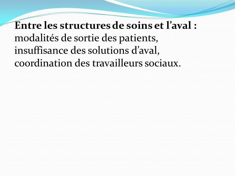 Entre les structures de soins et laval : modalités de sortie des patients, insuffisance des solutions daval, coordination des travailleurs sociaux.