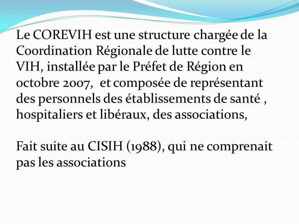 Le COREVIH est une structure chargée de la Coordination Régionale de lutte contre le VIH, installée par le Préfet de Région en octobre 2007, et composée de représentant des personnels des établissements de santé, hospitaliers et libéraux, des associations, Fait suite au CISIH (1988), qui ne comprenait pas les associations