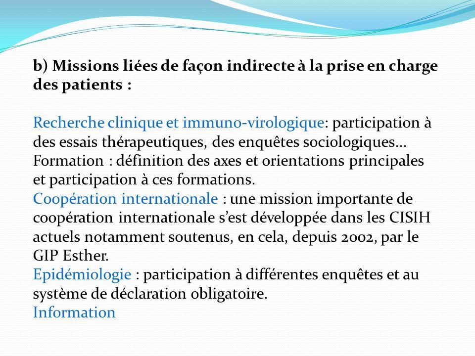 b) Missions liées de façon indirecte à la prise en charge des patients : Recherche clinique et immuno-virologique: participation à des essais thérapeutiques, des enquêtes sociologiques...