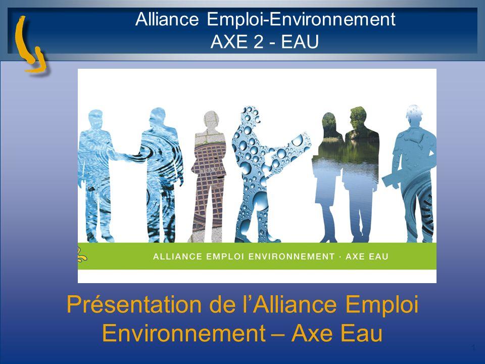 Présentation de lAlliance Emploi Environnement – Axe Eau Alliance Emploi-Environnement AXE 2 - EAU 1