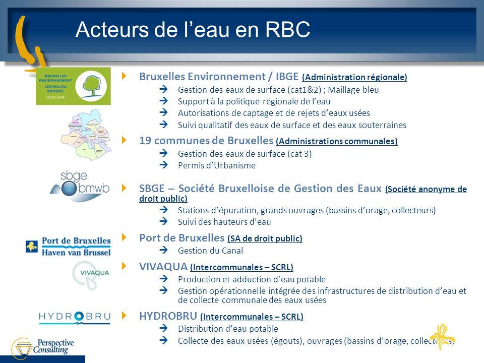 Bruxelles Environnement / IBGE (Administration régionale) Gestion des eaux de surface (cat1&2) ; Maillage bleu Support à la politique régionale de lea