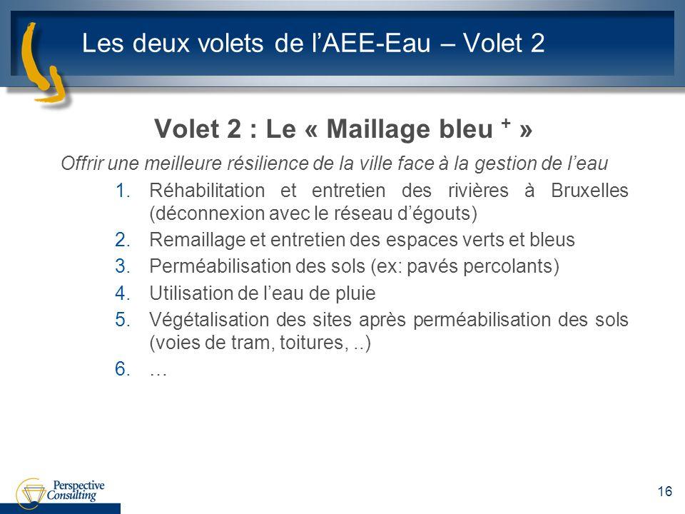 Les deux volets de lAEE-Eau – Volet 2 Volet 2 : Le « Maillage bleu + » Offrir une meilleure résilience de la ville face à la gestion de leau 1.Réhabilitation et entretien des rivières à Bruxelles (déconnexion avec le réseau dégouts) 2.Remaillage et entretien des espaces verts et bleus 3.Perméabilisation des sols (ex: pavés percolants) 4.Utilisation de leau de pluie 5.Végétalisation des sites après perméabilisation des sols (voies de tram, toitures,..) 6.… 16