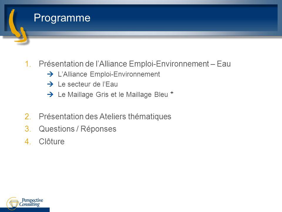 Programme 1.Présentation de lAlliance Emploi-Environnement – Eau LAlliance Emploi-Environnement Le secteur de lEau Le Maillage Gris et le Maillage Ble