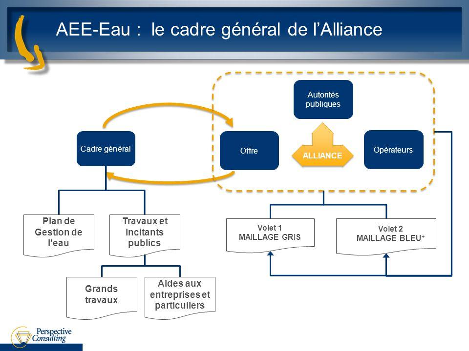 Cadre général Plan de Gestion de leau AEE-Eau : le cadre général de lAlliance Offre Autorités publiques Opérateurs ALLIANCE Volet 2 MAILLAGE BLEU + Vo