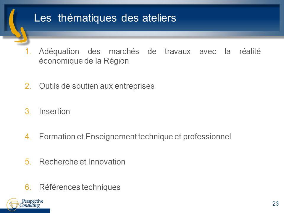 Les thématiques des ateliers 1.Adéquation des marchés de travaux avec la réalité économique de la Région 2.Outils de soutien aux entreprises 3.Inserti