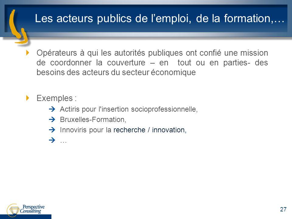 Les acteurs publics de lemploi, de la formation,… Opérateurs à qui les autorités publiques ont confié une mission de coordonner la couverture – en tou