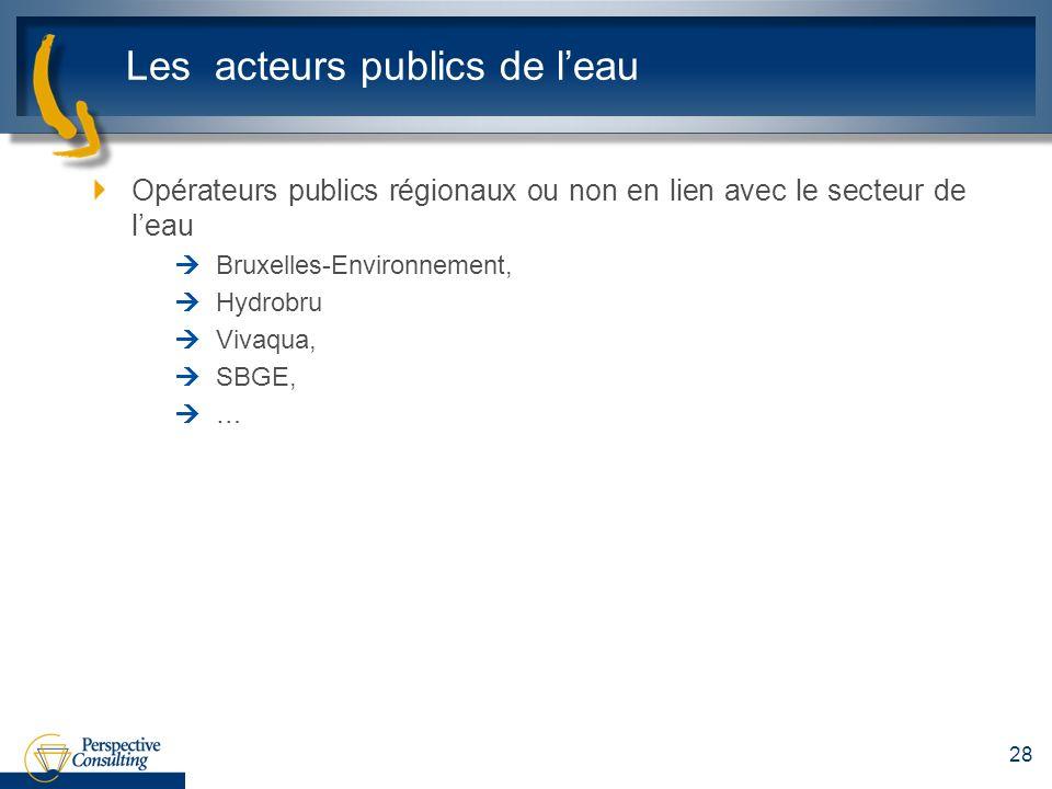 Les acteurs publics de leau Opérateurs publics régionaux ou non en lien avec le secteur de leau Bruxelles-Environnement, Hydrobru Vivaqua, SBGE, … 28