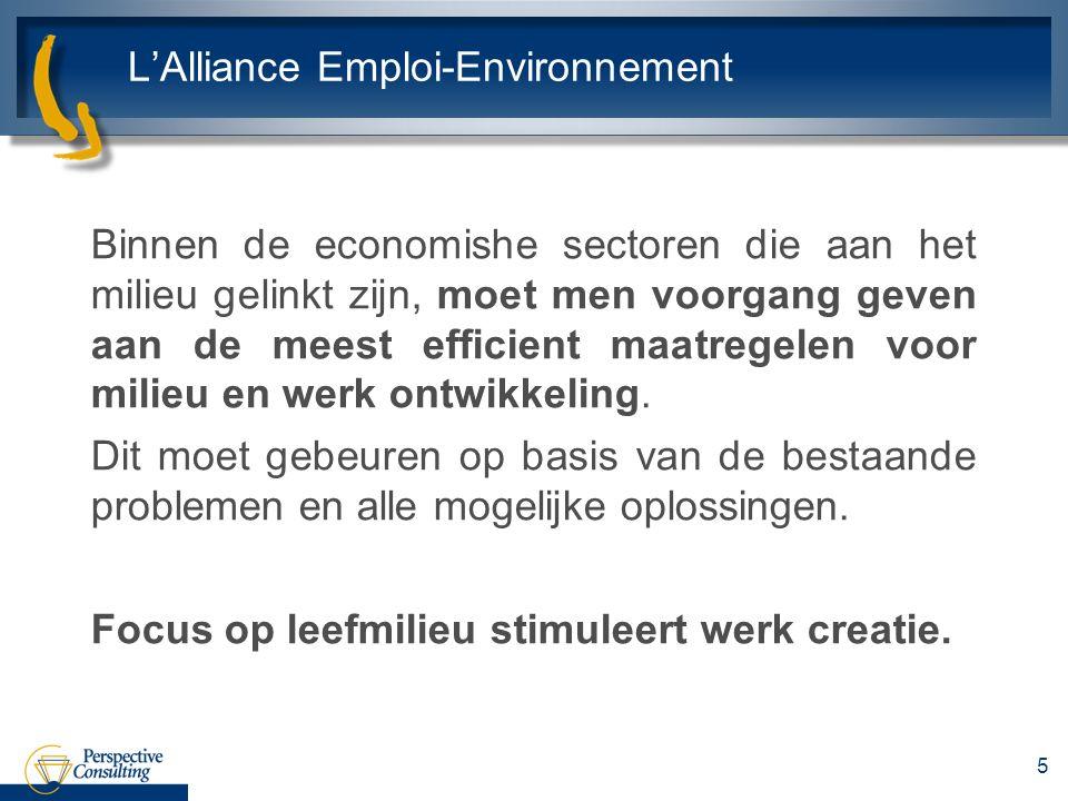 LAlliance Emploi-Environnement Binnen de economishe sectoren die aan het milieu gelinkt zijn, moet men voorgang geven aan de meest efficient maatregelen voor milieu en werk ontwikkeling.
