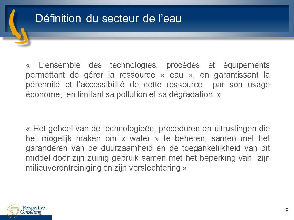 Définition du secteur de leau « Lensemble des technologies, procédés et équipements permettant de gérer la ressource « eau », en garantissant la péren