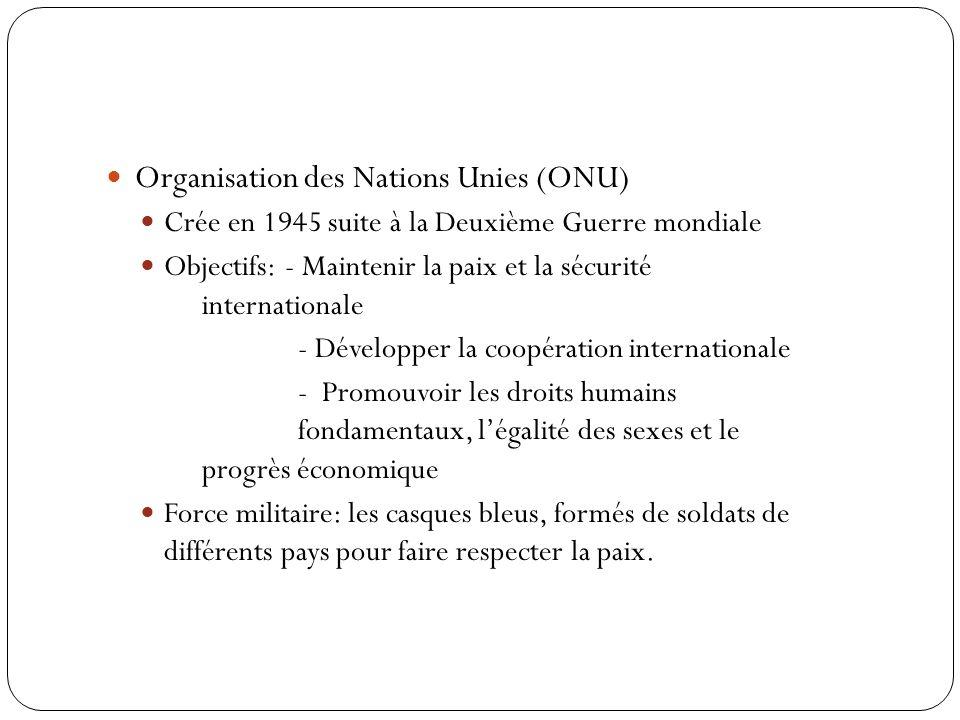 Organisation des Nations Unies (ONU) Crée en 1945 suite à la Deuxième Guerre mondiale Objectifs: - Maintenir la paix et la sécurité internationale - D