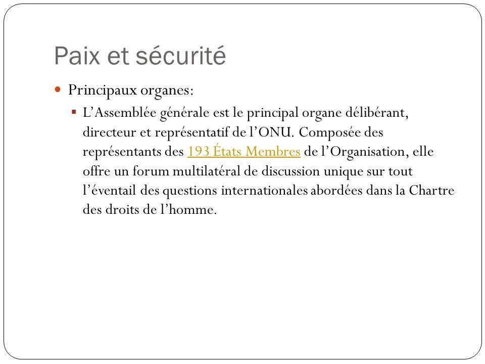Paix et sécurité Principaux organes: LAssemblée générale est le principal organe délibérant, directeur et représentatif de lONU. Composée des représen