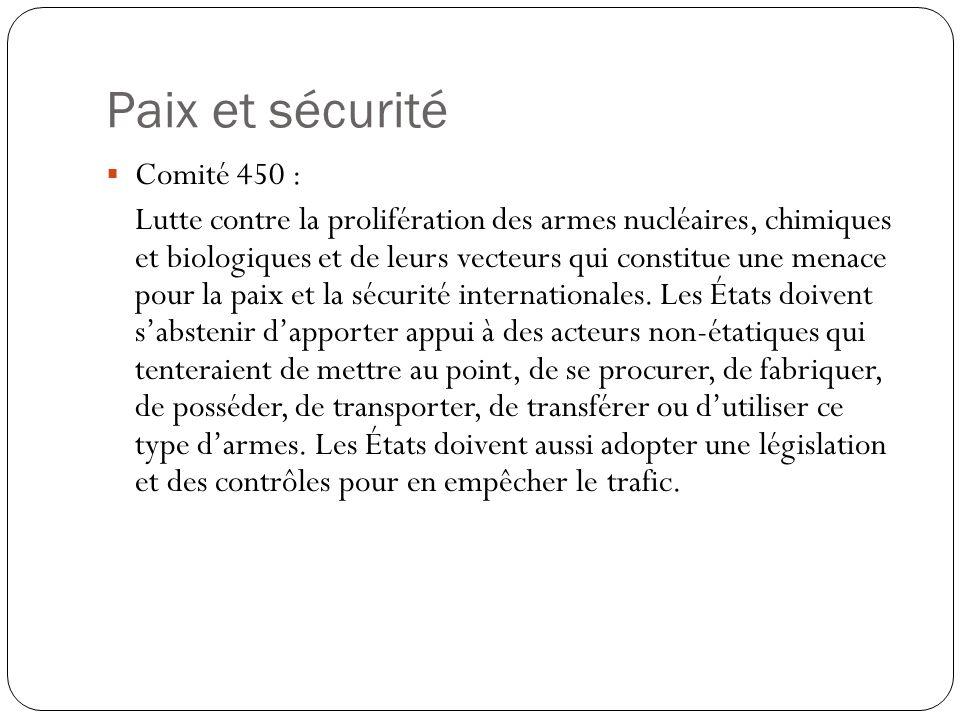 Paix et sécurité Comité 450 : Lutte contre la prolifération des armes nucléaires, chimiques et biologiques et de leurs vecteurs qui constitue une mena