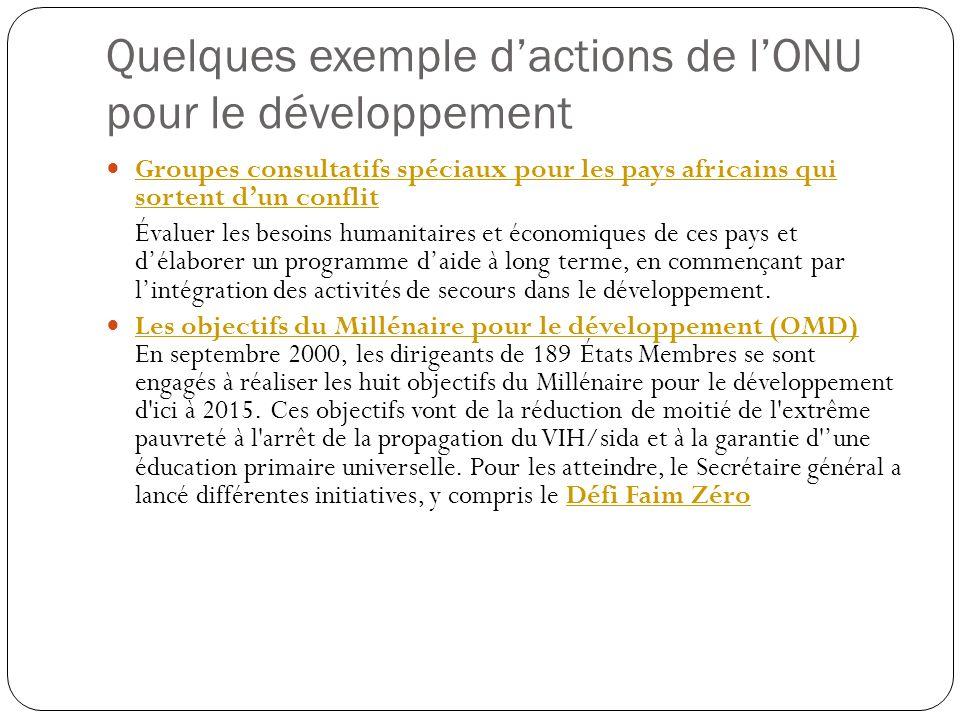 Quelques exemple dactions de lONU pour le développement Groupes consultatifs spéciaux pour les pays africains qui sortent dun conflit Groupes consulta