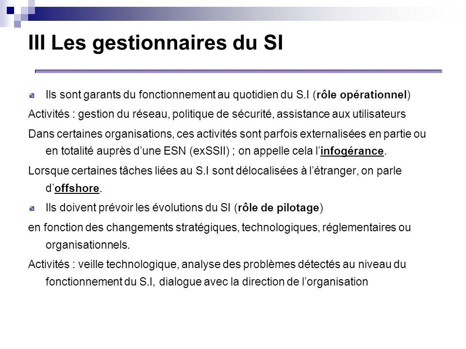 III Les gestionnaires du SI Ils sont garants du fonctionnement au quotidien du S.I (rôle opérationnel) Activités : gestion du réseau, politique de séc