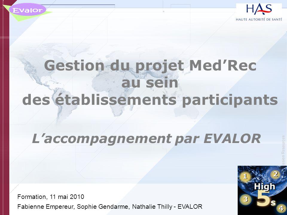 © Copyright, Joint Commission Resources Gestion du projet MedRec au sein des établissements participants Laccompagnement par EVALOR Formation, 11 mai