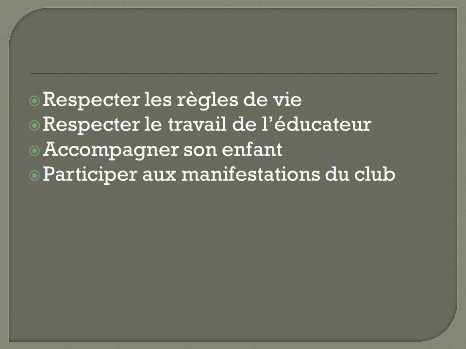 Respecter les règles de vie Respecter le travail de léducateur Accompagner son enfant Participer aux manifestations du club