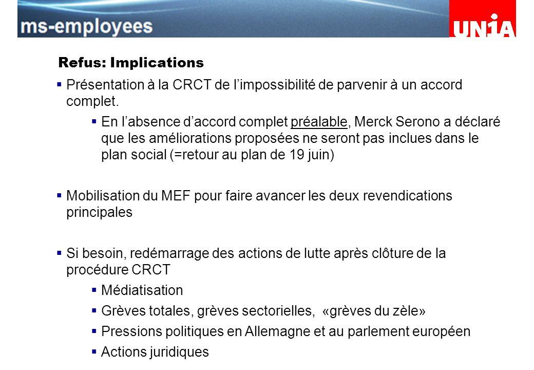 Assemblée du personnel de Merck Serono Refus: Implications Présentation à la CRCT de limpossibilité de parvenir à un accord complet.