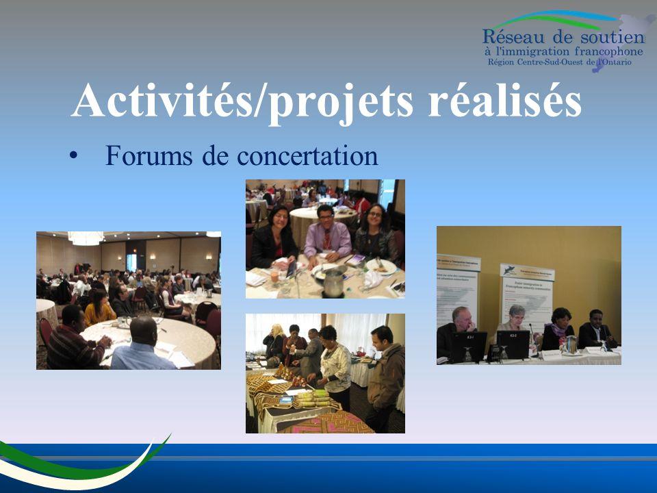 Activités/projets réalisés Forums de concertation