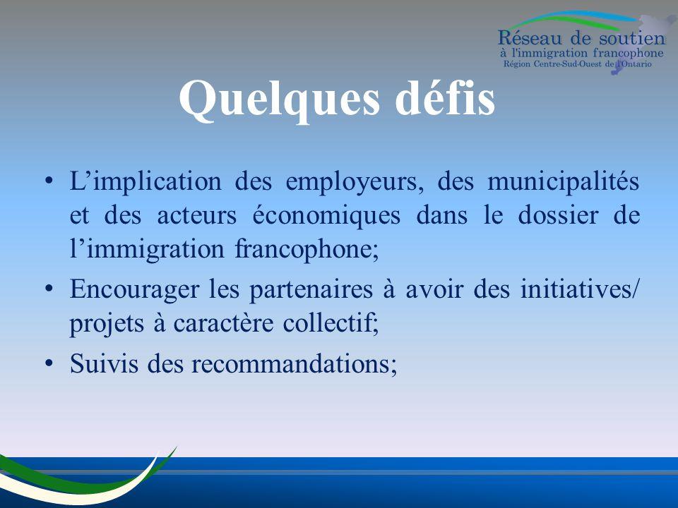 Quelques défis Limplication des employeurs, des municipalités et des acteurs économiques dans le dossier de limmigration francophone; Encourager les partenaires à avoir des initiatives/ projets à caractère collectif; Suivis des recommandations;