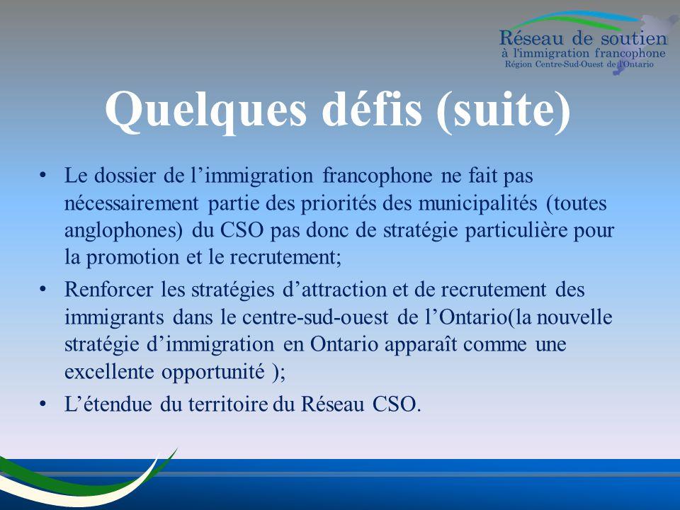 Quelques défis (suite) Le dossier de limmigration francophone ne fait pas nécessairement partie des priorités des municipalités (toutes anglophones) du CSO pas donc de stratégie particulière pour la promotion et le recrutement; Renforcer les stratégies dattraction et de recrutement des immigrants dans le centre-sud-ouest de lOntario(la nouvelle stratégie dimmigration en Ontario apparaît comme une excellente opportunité ); Létendue du territoire du Réseau CSO.