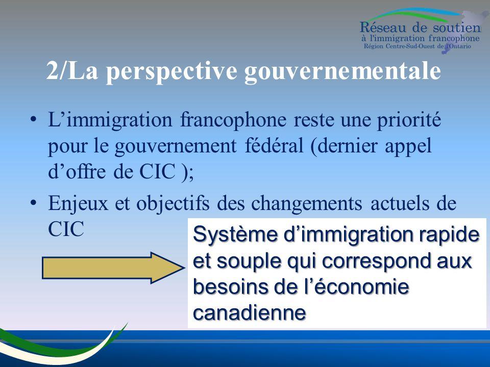 2/La perspective gouvernementale Limmigration francophone reste une priorité pour le gouvernement fédéral (dernier appel doffre de CIC ); Enjeux et objectifs des changements actuels de CIC Système dimmigration rapide et souple qui correspond aux besoins de léconomie canadienne