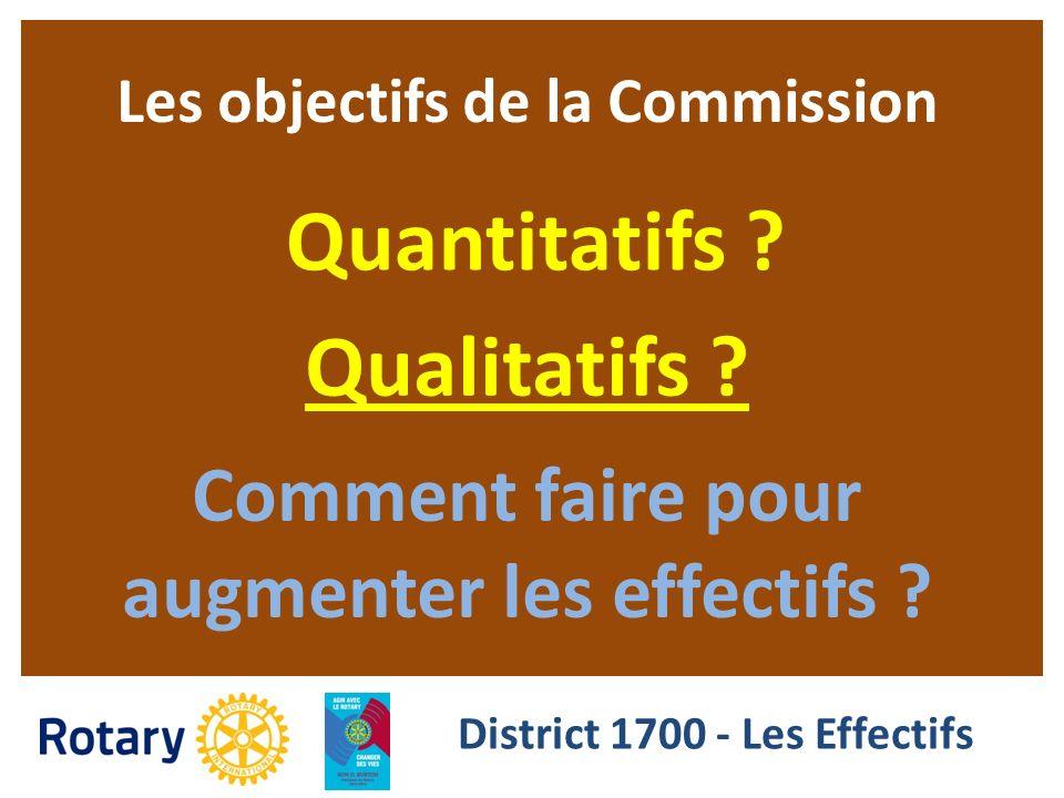 Les objectifs de la Commission Quantitatifs ? Qualitatifs ? Comment faire pour augmenter les effectifs ? District 1700 - Les Effectifs